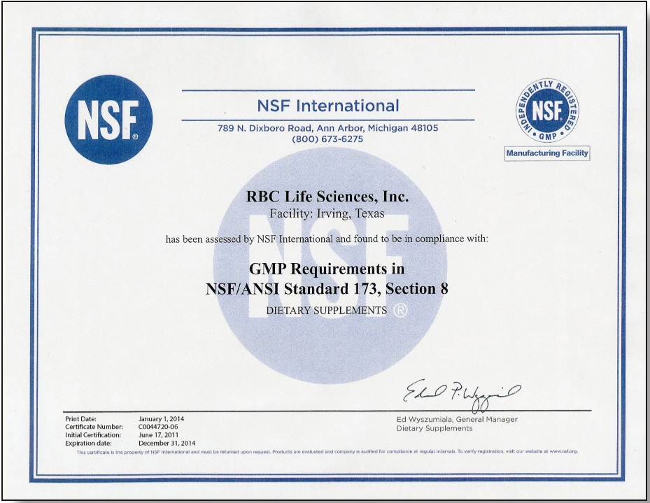 NSF認證的GMP良好生產規範